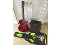 Tanglewood Discovery Deluxe Electro-Acoustic Guitar + Case and Crate Acoustic Amp CA15