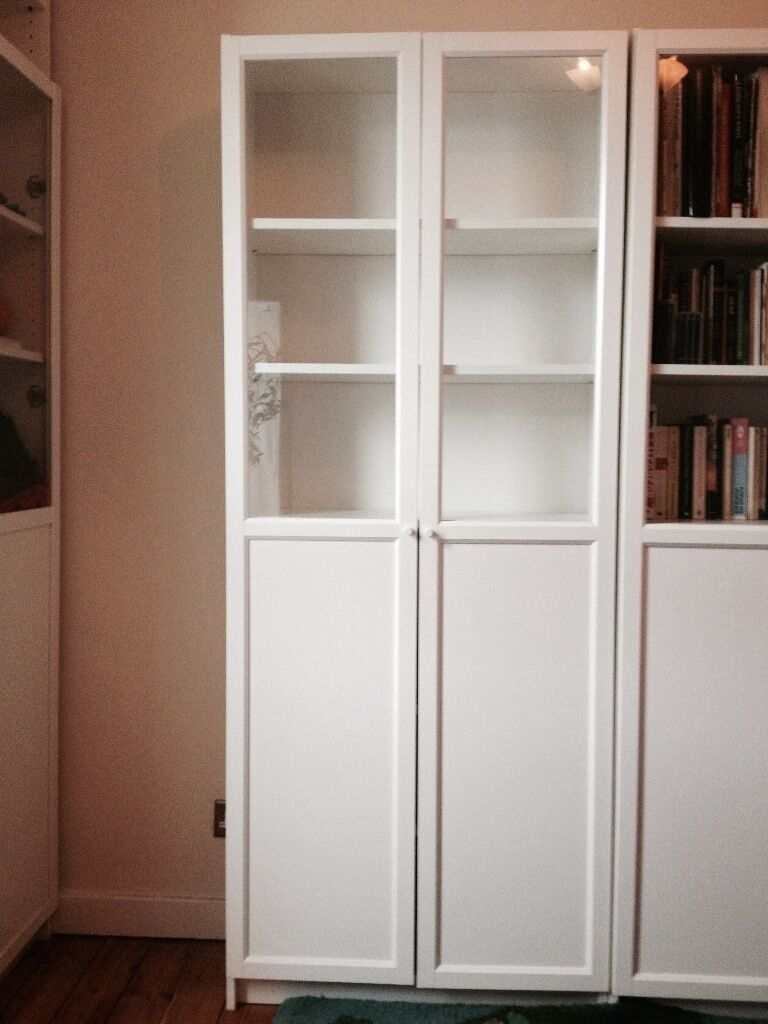 ikea billy oxberg bookcase upper half glass doors in. Black Bedroom Furniture Sets. Home Design Ideas