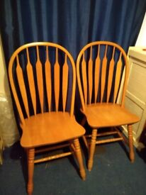 6 x TALL BACK Pine Dining Chairs - Hoop / Spindle Stick Back