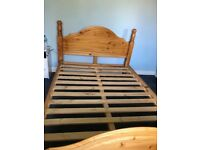 Solid pine double wooden bed frame