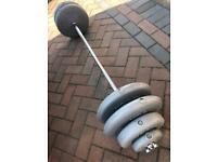 York 60kg weights set including heavy Spinlock bar