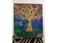 Golden vine tree hand made canvas