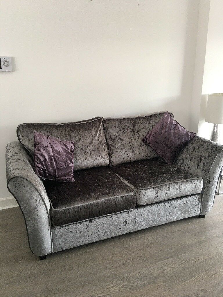 2 Beautiful Silver Grey Crushed Velvet Sofa Beds