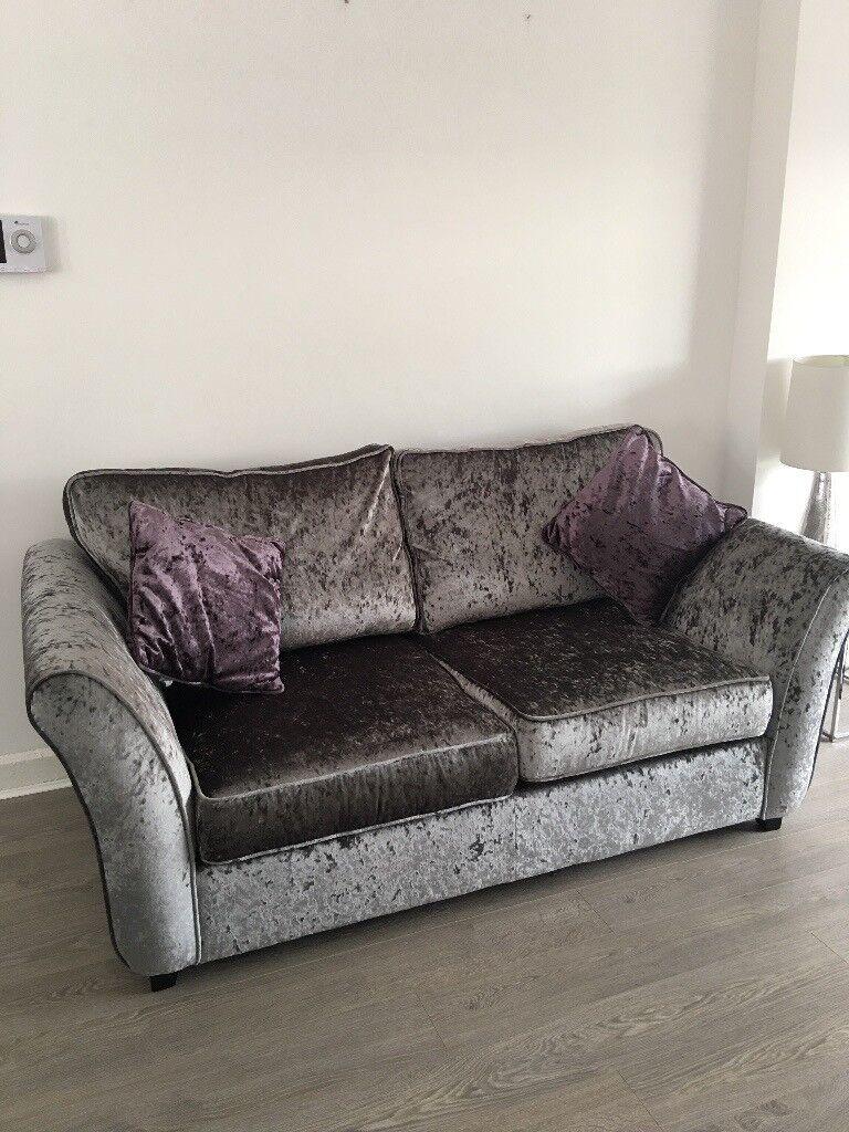 2 Beautiful Silver Grey Crushed Velvet Sofa Beds