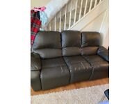 Recliner 3 seater faux leather sofa