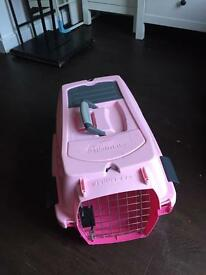 Pink portable kennel cab NEAR NEW
