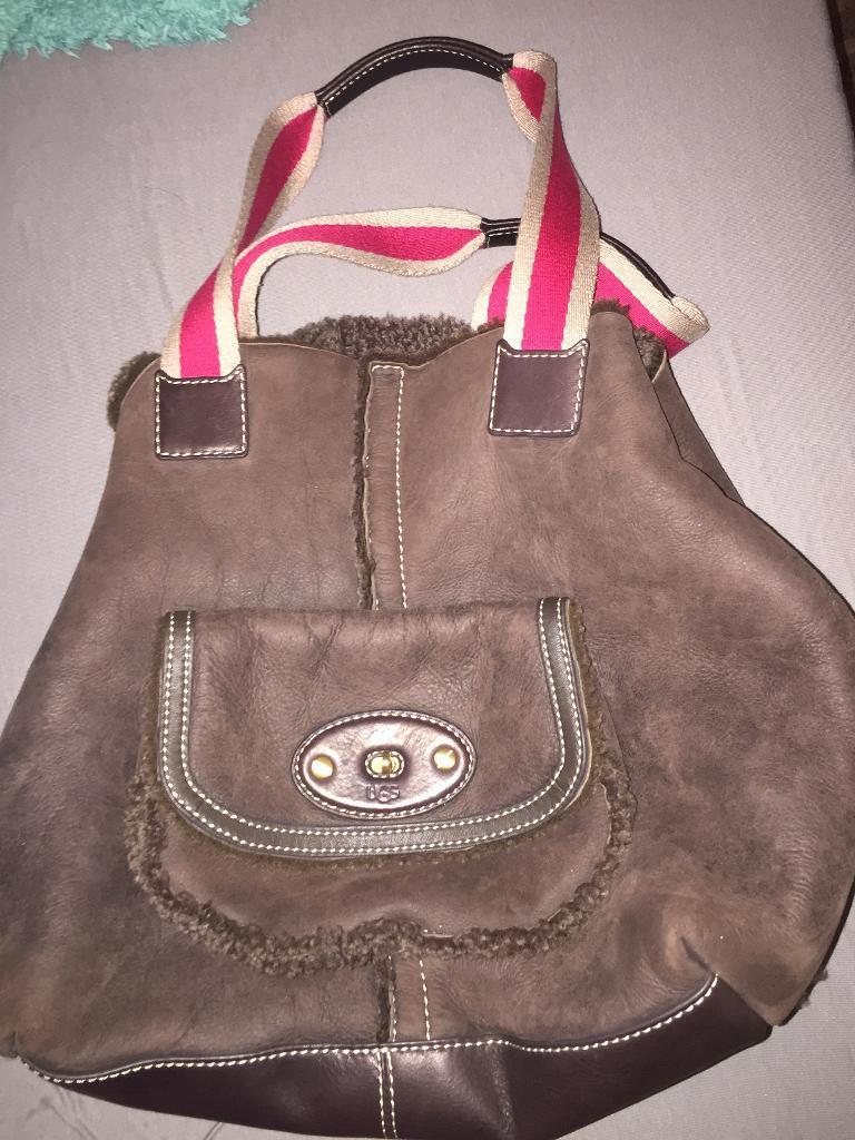 Auth genuine ugg sheepskin bag handbag large quality brown