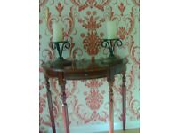 WROUGHT IRON DISPLAY STANDS TOGETHER WITH LARGE CANDLES