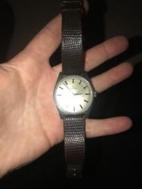 Omega geneve leather strap watch