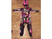 Motocross kids outfit kit with helmet