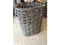 Rustic grey wicker laundry basket