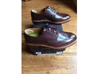 Oliver Sweeney Size 8.5 - MENS SHOE LEATHER BROGUE IN BURGUNDY - Saunders, leather, brand new,