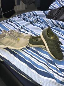 2 pairs of Adidas trainers, both size 7.