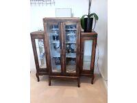 Beautiful Antique Wooden & Vintage Glass Cabinet / Sideboard / Cupboard