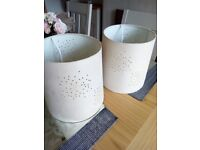 Two faux suede lampshades