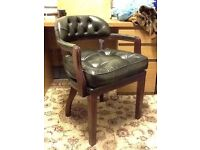 Chesterfield green leather captains chair / court chair