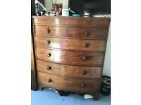 Edwardian bow fronted chest of drawers