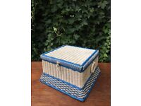 Vintage Retro Coated Blue & White Woven Plastic Sewing Basket Thread Storage Box