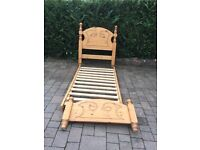 Single pine bed with mattress, both good condition