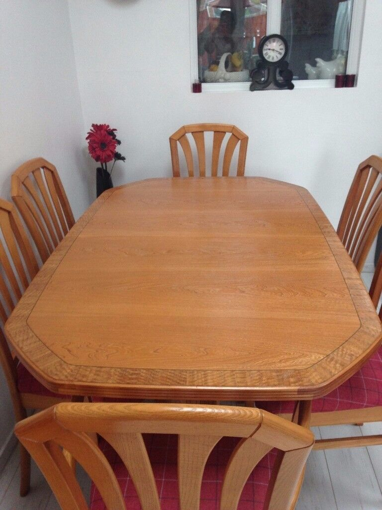 light oak dining table six chairs