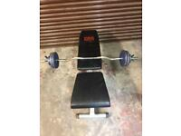 Weight training flat bench cast iron weights