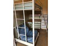 High sleeper bed with desk, 2x shelving and Chair