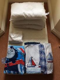 Mamas and Papas cotbed mattress, 2 x duvets and covers and sheets