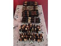 Job lot tribal wooden beaded Bracelets six for £12