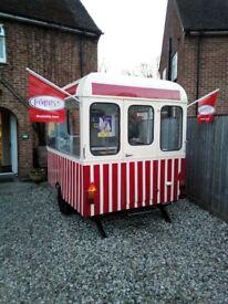 Vintage ice cream trailer + carpigiani soft serve, high output machine