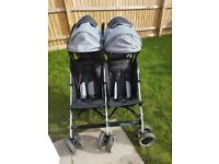 Double grey stroller buggy very good condition, solid, from.birth, foot muffs, rain cover 2x baskets