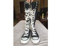 Size 5 Converse Knee High Lace Up Black Boots - With Zip