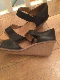 Clarks black wedge shoe