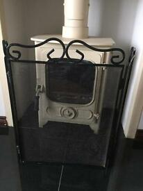 Black cast iron fire guard
