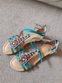 Teal jewelled sandals, size 6