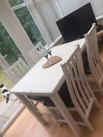 White painted table with 4 chairs