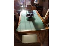 Dining Table, six chairs & sideboard, inset heat resistant glass, excellent condition
