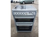 HOTPOINT EW74W 60cm DOUBLE OVEN CERAMIC ELECTRIC COOKER-SILVER