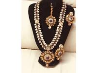 Beautiful Indian kundan long necklace, earrings and teeka Set,