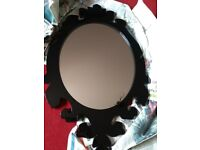 NEXT Large black high gloss baroque style mirror