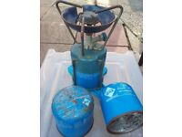 Mini Camping Gas Stove with 3 gas canisters.