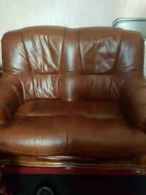 3 and 2 seater Brown leather sofas in excellent condition