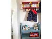 Blue storage bookcase & airplane coat hanger toy storage unit - solid items
