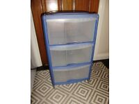 Drawers x 2 plastic drawers, blue drawers and white drawers, good condition, £12 each