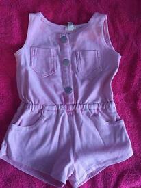 Denim pink play suit