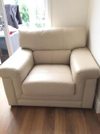 4 seater cream leather sofa,armchair and footstool