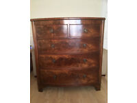 Antique regency bow fronted mahogany chest of drawers