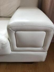 Sofa and armchair white real leather