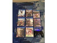 PS4 controller with 8 games (recent games)