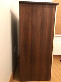 Cream & walnut wardrobe/storage unit