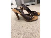 Chloe brown leather sandals heels UK 6
